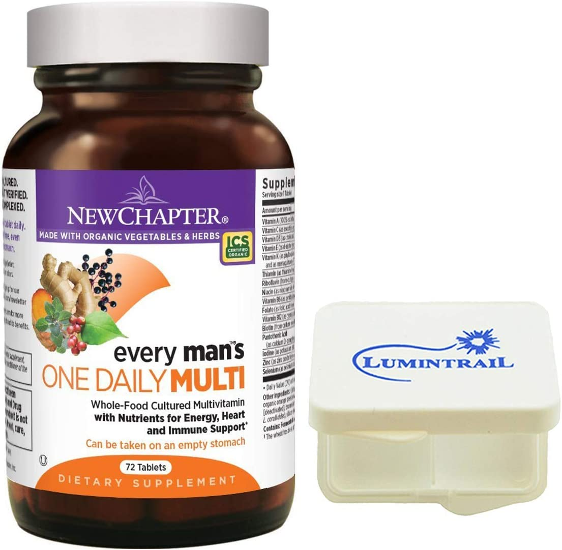 New Chapter Every Man s One Daily, Men s Multivitamin Fermented with Probiotics – 72 Tablets Bundle with a Lumintrail Pill Case
