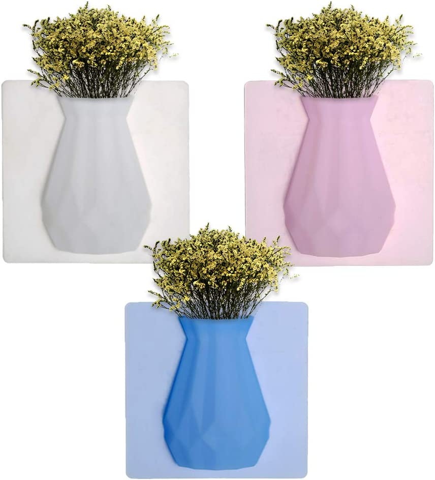 Silicone Vase Stickers Living Room Glass Seamless Paste Wall Hanging Flower Pot Office Wall Decoration Ornaments for Fridge Door, Glass Window, Ceramic Tile
