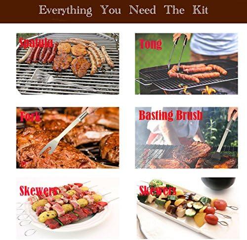 TEENO Kit Barbecue Outil de Barbecue en Acier Inoxydable Ustensiles De Barbecue pour Grillades