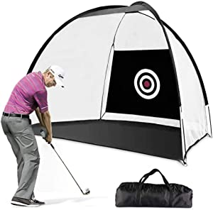 ETE ETMATE Golf Hitting Nets, Indoor/Outdoor Collapsible Golf Chipping Net, Swing Practice Target Equipment with Storage Bag, Backyard Driving Range Training Aids Net