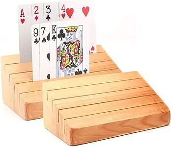 Tebery Soporte de madera para cartas de juego | Estante | Organizador de bandejas para niños mayores adultos (juego de 2): Amazon.es: Juguetes y juegos