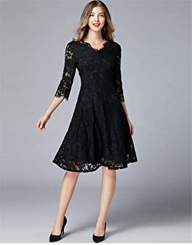 Vestido Ocio Verano Cordón Negro Mujer Cuello En V Longitud De La ...