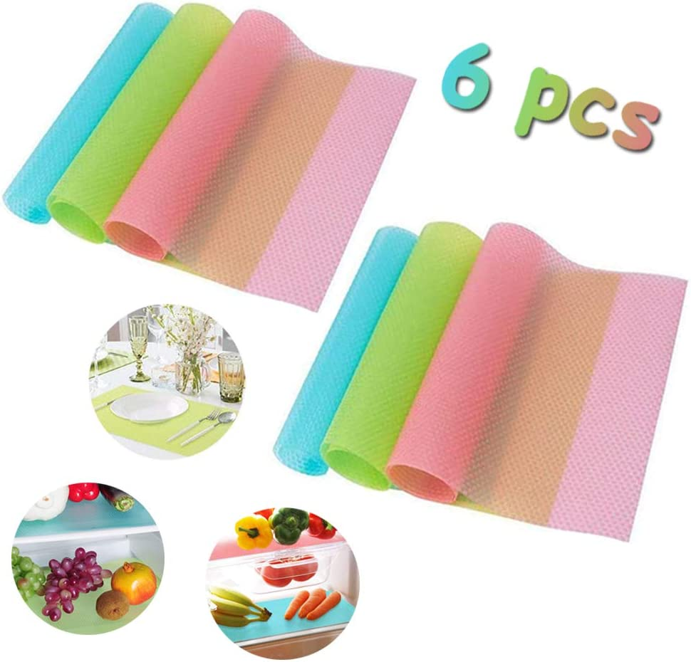 Szsrcywd 6 Pack Refrigerator Mats,3 Colors Fridge Mats for Placemats Drawer Mat Refrigerator Pads,Washable Fridge Mats to Cut Suitable Size