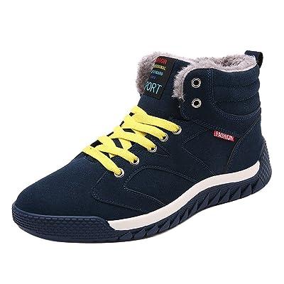 Hibote Hommes Chaussures Hiver Sneakers Hiver Chaussures Chaud Doublé Sneaker Sport Baskets Hautes Bottes de Neige Trekking Chaussures Casual Chaussures de Marche Bleu Foncé Vert Noir 39-44