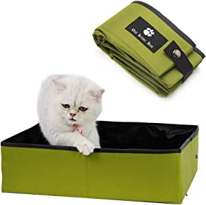 Minjie - Caja de arena plegable para gatos de viaje, portátil ...