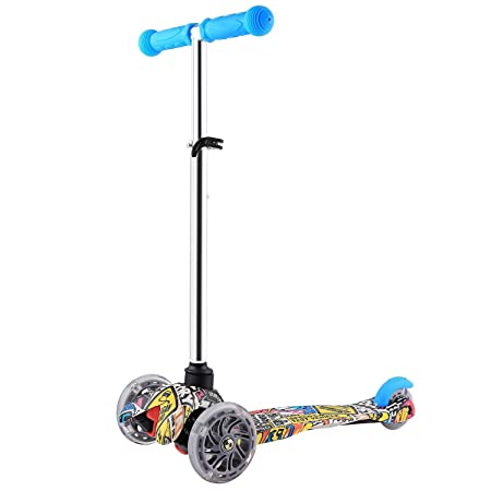 Cosway Swing Scooter Kids, 3 Wheels Foldable Tri Slider Motion Winged Drifter Push Y Wiggle Scooter Age 3