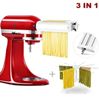 3 in 1 PASTA Maker Attachment For KitchenAid Stand Mixers, Included PASTA Sheet Roller, Spaghetti Cutter, Fettuccine Cutter Maker Accessories And Cleaning Brush & Pasta Drying Rack