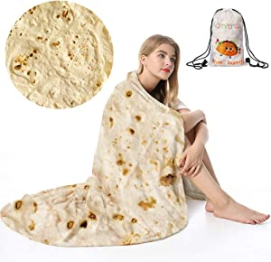 Admitrack Tortilla Wrap Blanket,Burritos Round Wrap Blanket,Tortilla Throw Blanket,Funny Realistic Food Round Blanket,Novelty Burritos Throw Blanket for Adults&Kids