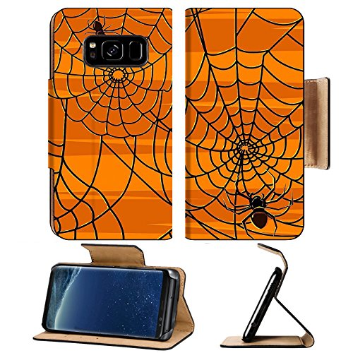MSD Premium Samsung Galaxy S8 Flip Pu Leather Wallet Case IMAGE of background illustration web pattern spider trap design graphic vector nature art abstract danger insect