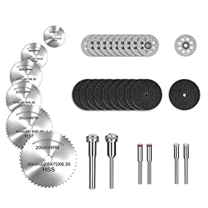 """Rotary Tool Cutting Wheels Diamond Cutting Wheels and Resin Cutting Off Wheels With Mandrels, Hss Circular Saw Blades With 1/8"""" Shank for Wood Metal DIY Craft (32pcs)"""
