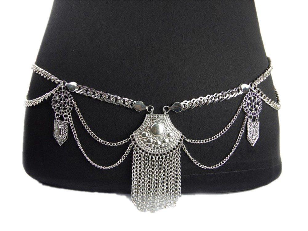 Hot Sexy Waist Belt Belly Unibody Body Chain(Silver)