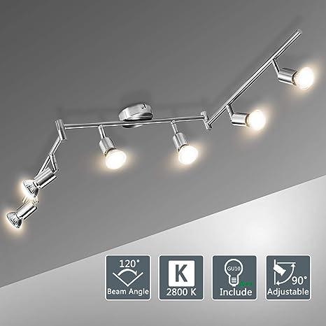 Lámparas de Techo LED 6 Focos Orientables, Bojim Luz de techo con Barra Giratables incl. 6X Bombillas GU10 6W 2800K Blanco Cálido 220V 600lm 82Ra ...