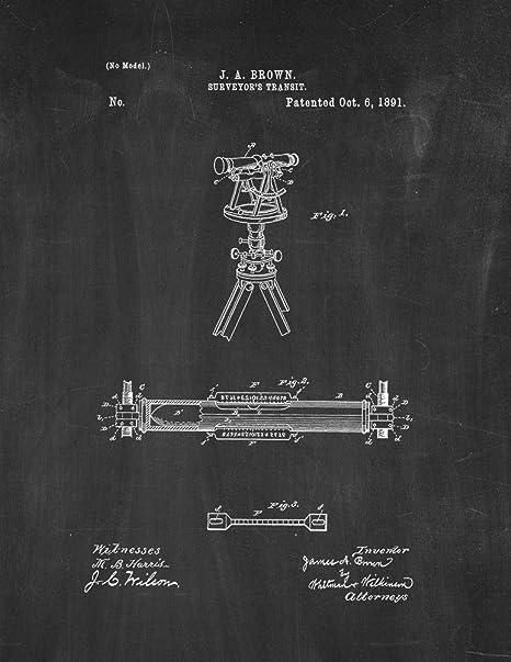 Patente de tránsito agrimensor arte pizarra (21,59 cm x 27 ...