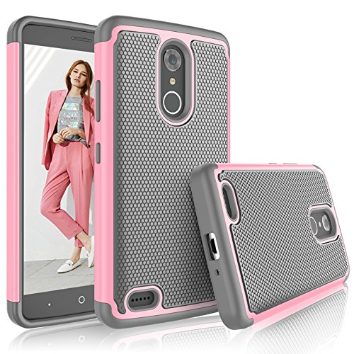 Tekcoo ZTE Max XL Case, Tekcoo ZTE Max XL Cover for Girls, [Tmajor] Shock Absorbing [Baby Pink] Rubber Silicone & Plastic Scratch Resistant Defender Bumper Grip Rugged Hard Cases for ZTE Max XL N9560 (Phone Cases For A Boost Max Zte)