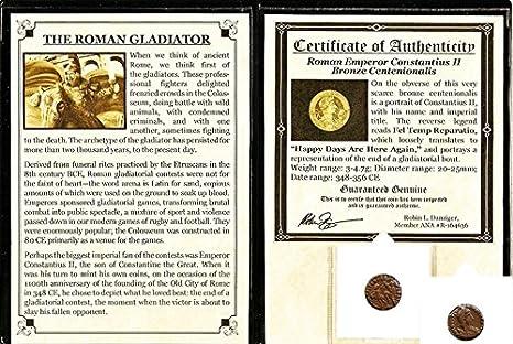 Roman Centenionalis Constantius II Gladiator Coin Mini Album /& Certificate