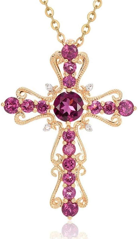GLLFC Collar 14K Collar de Oro Colgantes de Diamantes de rubí para Mujeres Boda Topacio Puro Colgante de rubíes de Piedras Preciosas Collares de Diamantes de 14K Colgantes