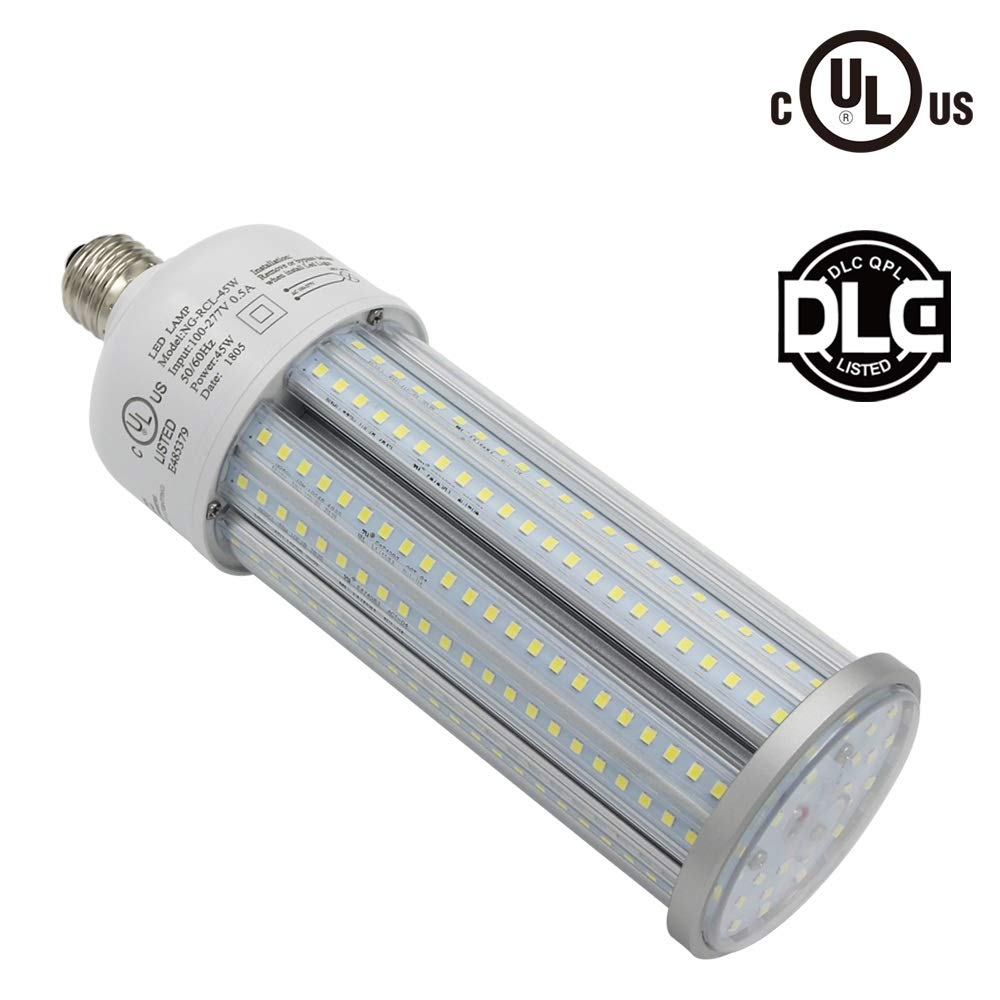 Caree-LED 45w Led Corn Light Bulb E39 Mogul Base,CFL HID HPS Metal Halide Replacement(175w) for Street and Area Light Post Top Acorn Warehouse High Bay Garage Garden Light Super Bright 6000K (45)