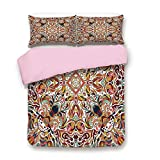 Eastern King Bed Vs King Pink Duvet Cover Set,Twin Size,Floral Persian Lines Middle Eastern Bouquet Inspired Kitsch Bohemian Artsy Print,Decorative 3 Piece Bedding Set with 2 Pillow Sham,Best Gift For Girls Women,Multi