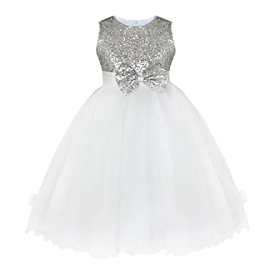 0cf6c412552 Freebily Robe de Mariage Enfant Filles Robe de Princesse Soirée Tutu Robe à  Paillettés Bowknot Papillons