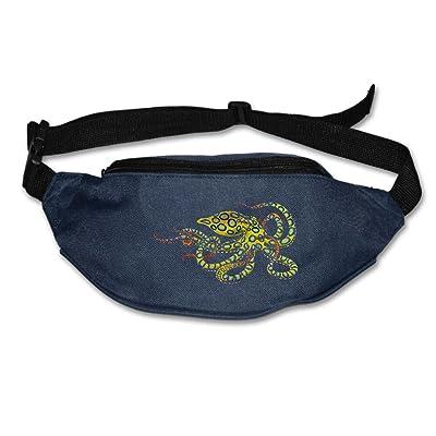 Unisex Pockets Blue Ring Octopus Fanny Pack Waist / Bum Bag Adjustable Belt Bags Running Cycling Fishing Sport Waist Bags Black