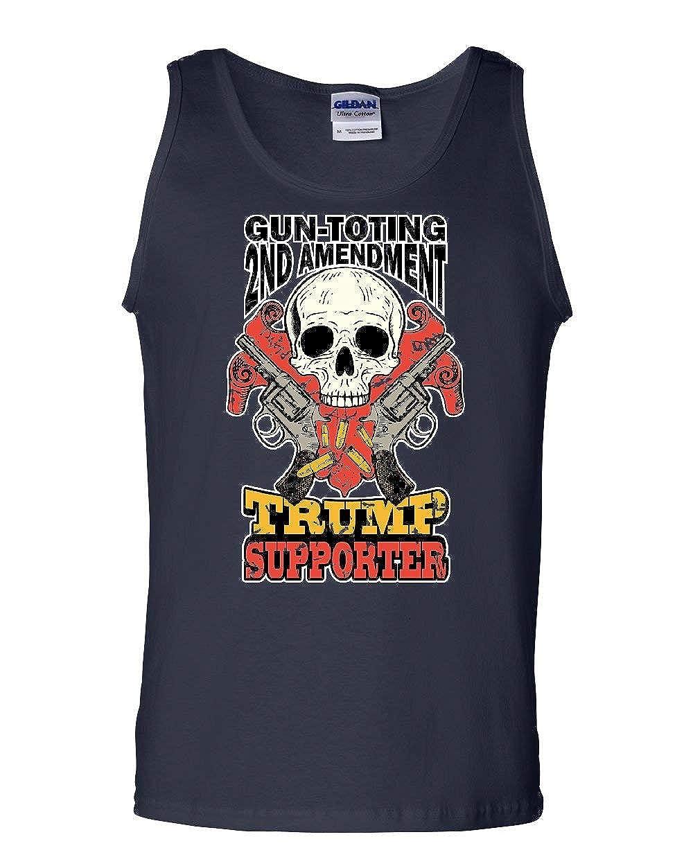Tee Hunt Gun-Toting Trump Supporter Tank Top 2nd Amendment Skull Revolvers Sleeveless