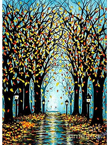 DIY 5D Diamond Painting Kits for Adults & Kids Tree by means of Number Kits Round Rhinestone Embroidery Cross Stitch Arts Craft Canvas Wall Decor(12x16inch)