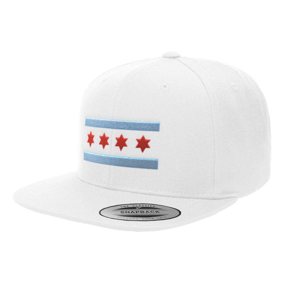 b6e294ee5aa Chicago Flag Hats B Illinois Premium Classic Snapback Yupoong Flexfit 6089  (White)