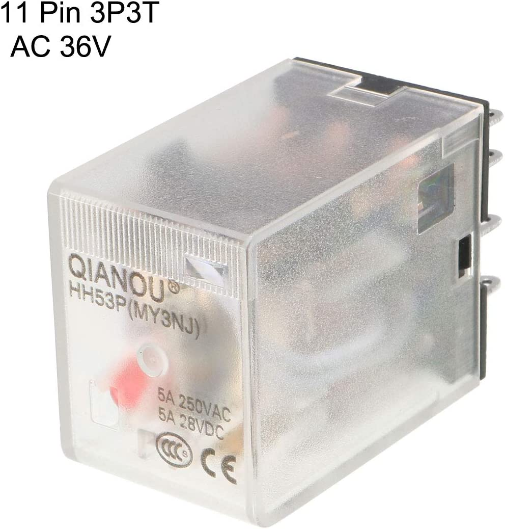 uxcell AC 36V Coil Red Indicator Light 11 Pin 3P3T Electromagnetic General Purpose Power Relay