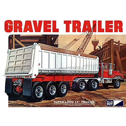 3-Axle Gravel Trailer Plastic Model Kit, Paint and glue required, ()