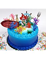 Little Mermaid PRINCESS ARIEL Themed Birthday Cake Topper Set Featuring Ariel Figure and Decorative Themed Accessories