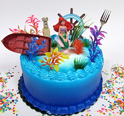 Little Mermaid PRINCESS ARIEL Themed Birthday Cake Topper Set Featuring Ariel Figure and Decorative Themed Accessories -