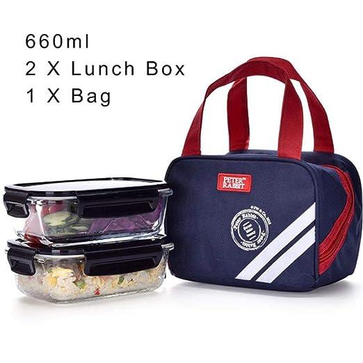 Fiambrera de comida de 2 PC con la caja de almuerzo empaqueta el ...