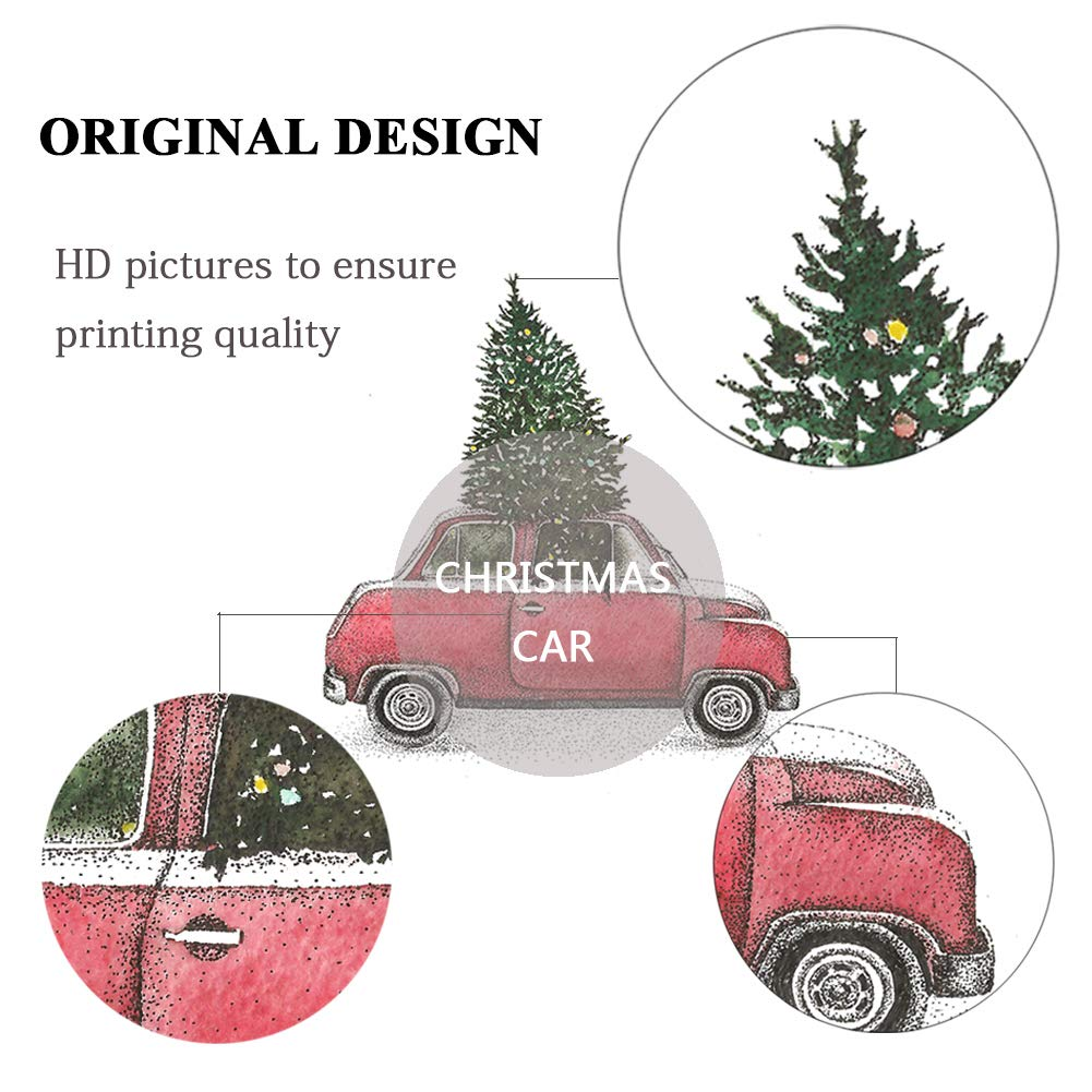 Amazon.com: 4TH Emotion Christmas Tree and Red Car Throw Pillow ...