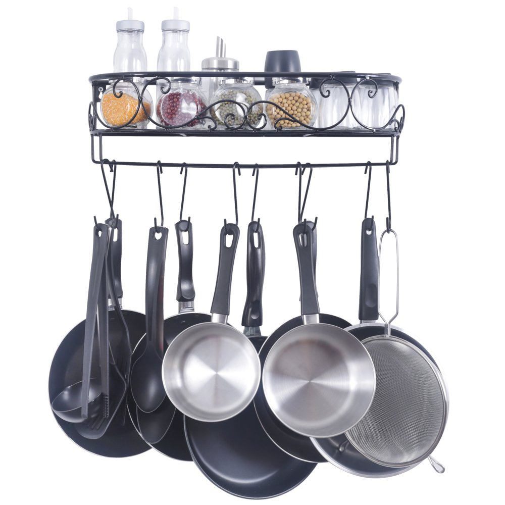 Amazon.com: ZESPROKA Kitchen Rack, Wall Mounted Pot And Spice Rack, With10  Hooks, Black: Kitchen U0026 Dining