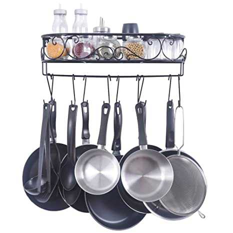 ZESPROKA Kitchen Rack, Wall Mounted Pot And Spice Rack, With10 Hooks, Black