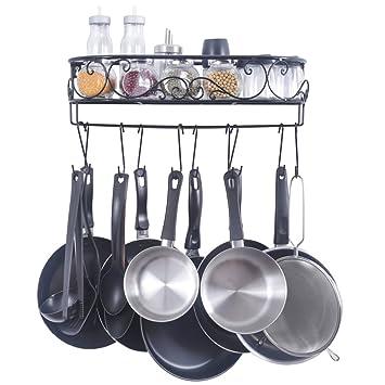 Generic - Estante de cocina para sartenes y especias, con 10 ganchos, montaje en pared, color negro: Amazon.es: Hogar