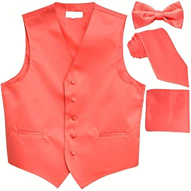 34a0c78b0d48 Alberto Cardinali Men's Dress Vest Solid Color 4 Piece Set Vest Neck Tie  Hanky Bow Tie Matching Suit Tuxedo at Amazon Men's Clothing store: