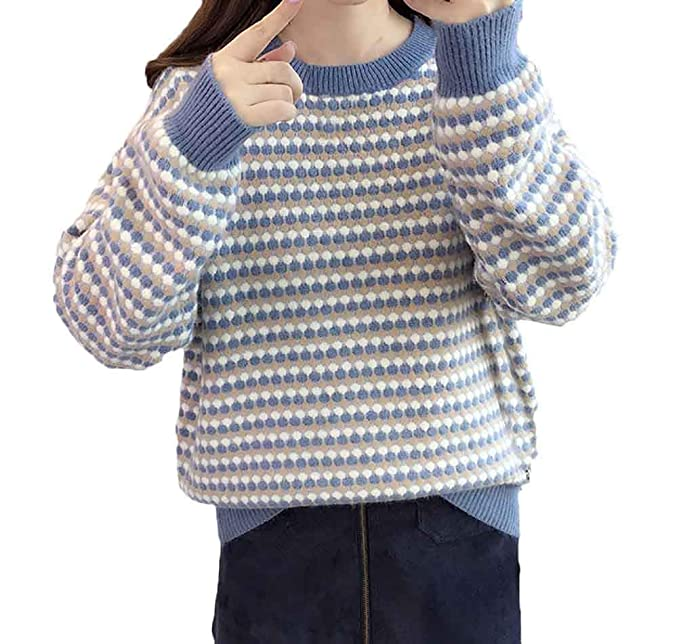 ... Maniche Lunghe Rotondo Collo Elegante Fashion Pullover A Maglia Taglie  Forti Top in Maglia Unique Stlie Maglieria Pullover  Amazon.it   Abbigliamento 69bb39ae2fd