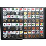 LZWIN Coin Collection Starter Kit 60 Countries Coins 100% Original Genuine World Coin with Leather Collecting Album Taged by Country Name And Flags
