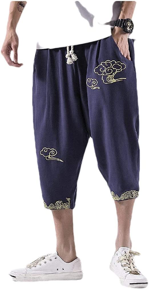 EnergyWD Mens Embroidered Linen Capri Drawstring Summer Harem Pants Casual Pants