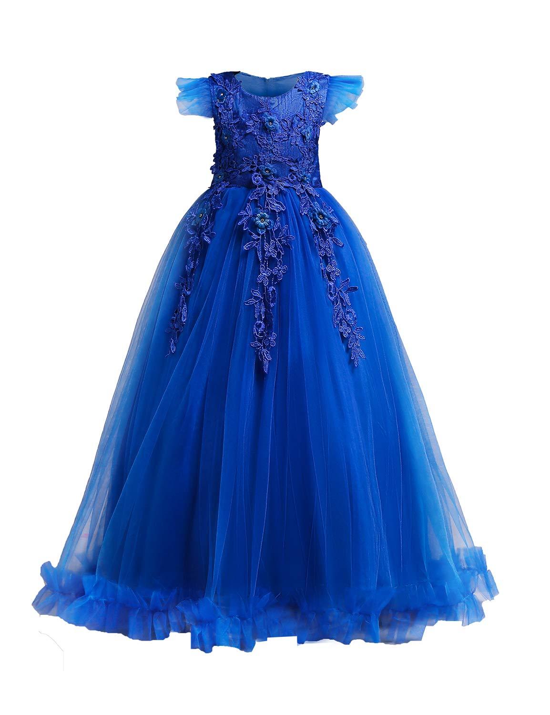YaYa Bay Formal Dresses for Girls, Child Flower Embroidery Ruffles Pageant Birthday Party Dress Full Length Flowy Bottom Sleeveless Beautiful Gift Summer Wear Bule Siz (140) 7-8 Years