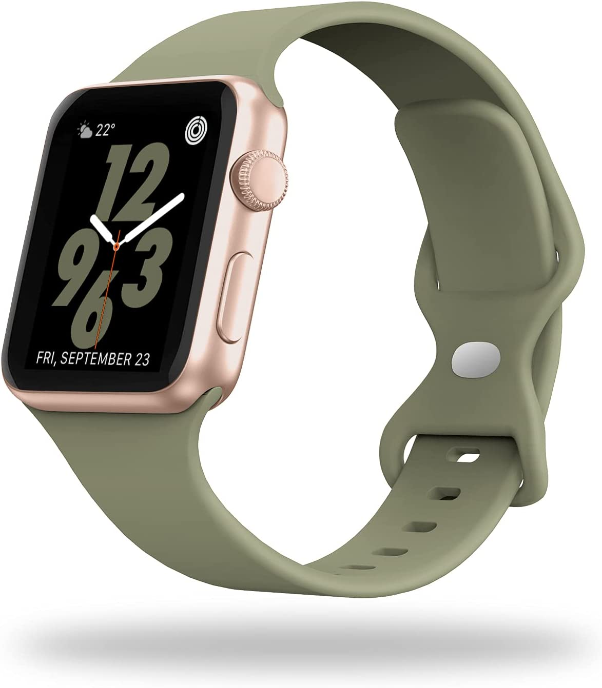 STG Smart Watch Band Compatible with Apple Watch Band 38mm 40mm 42mm 44mm, Soft Silicone Replacement Sport Strap Compatible for iWatch SE Series 6/5/4/3/2/1 (38/40mm, Khaki)