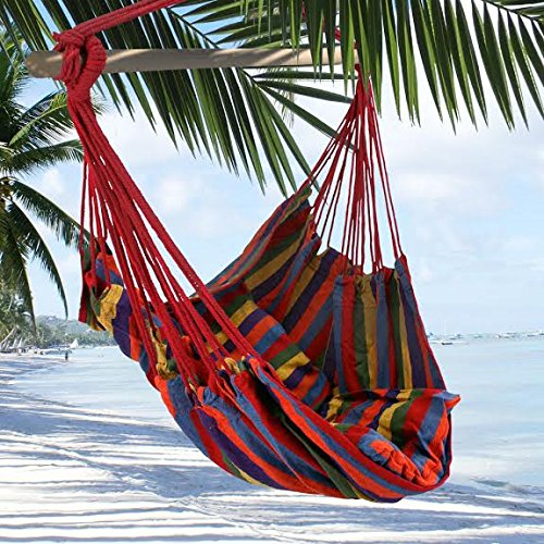 UPC 700900168144, Tropical Stripe Hanging Rope Chair Hammock Swing +Two Lightweight Pillows+Wooden Stretcher Bar+Color+Pacific Peak+220LBS by Breeze Hammocks0153;