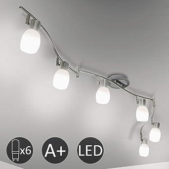Eofiti Lámpara de Techo LED Giratorios 6 Focos Plafón con Focos ...