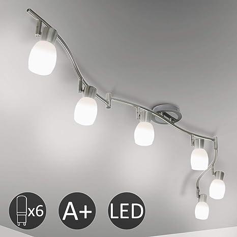 Deckenlampe Wohnraum GU10 Deckenstrahler 6flammig schwenkbar Lampenschirme Glas