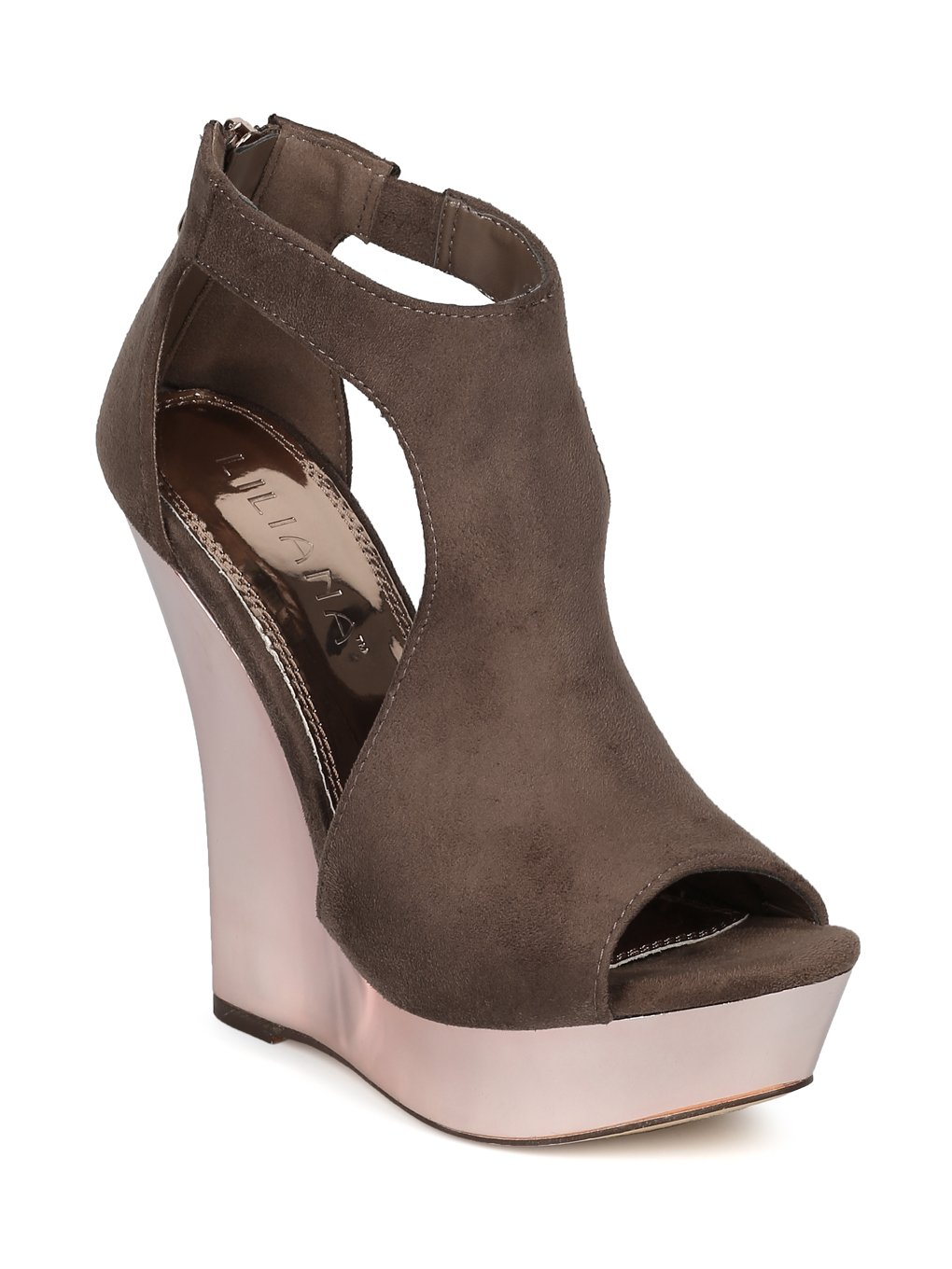 Alrisco Women Faux Suede Peep Toe Cut Out Metallic Platform Wedge Sandal HE07 B07555TK1C 8.5 M US|Taupe Faux Suede