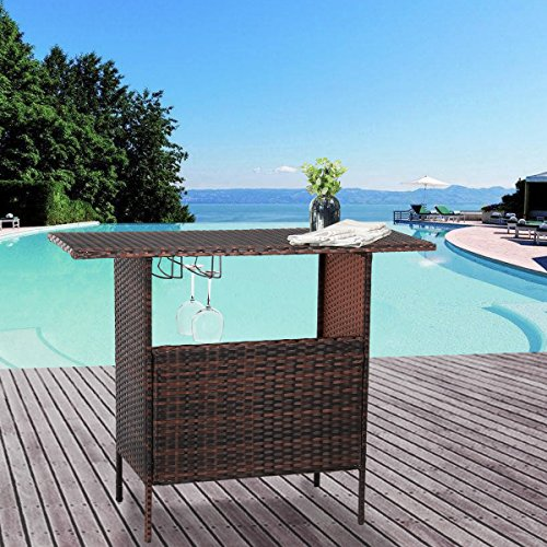 U-MAX Outdoor Rattan Wicker Bar Counter Table Shelves Garden Patio Furniture - Brown (And Bar Height Sets Patio Counter)