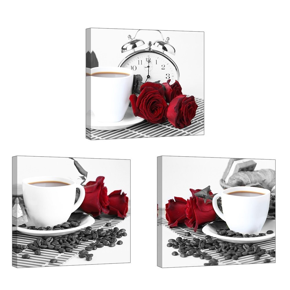 """Rose Wall Art for Kitchen/Dining Room, SZ 3 Piece Romantic Canvas Prints of Red Roses and Coffee Beans, Still Life Painting Picture (Waterproof Artwork, 1"""" Thick Frame, Bracket Mounted Ready to Hang)"""