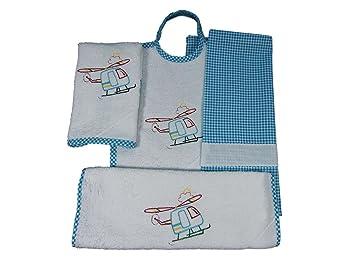 Coccole - Juego para guardería de tela, con diseño de «helicóptero turquesa»,