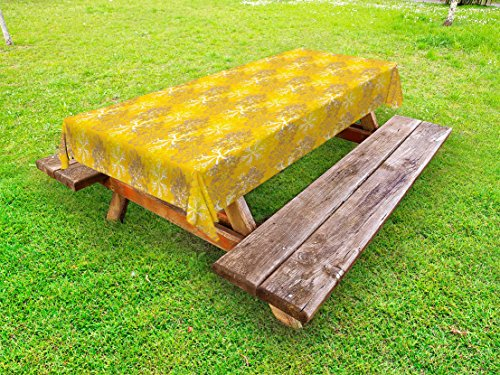 Ambesonne Yellow and White Outdoor Tablecloth, Snowflakes Design with Swirls and Curves on Yellow Toned Backdrop, Decorative Washable Picnic Table Cloth, 58 X 104 Inches, Marigold Yellow - Yellow Engagement Curves